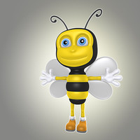 3d model simple cartoon bee animation