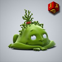 3d model green pixie toy