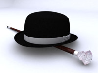 3d model bowler hat cane