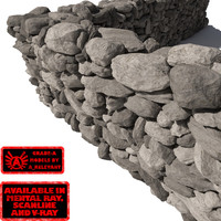 Stone - Rock Wall 6 - Grey 3D Rock Wall
