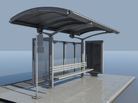 bus stop streets bench 3d model