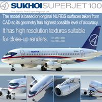 3d model sukhoi 100 jet