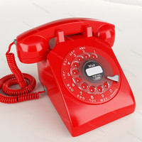 3d model red phone retro