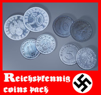3d reichspfennigs coins model
