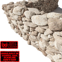 Stone - Rock Wall 5 - Light Tan 3D Rock Wall