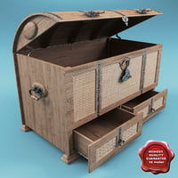 maya furniture wood nested trunk