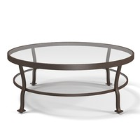 Mcguire Belmond Outdoor cocktail table glass round traditional art deco barbara barry