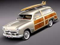 1949 woody wood antique 3d model