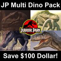 3d model jurassic park multi dino