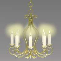 3d old chandelier candles model