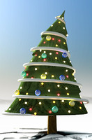 3d max illustrative christmas tree comic