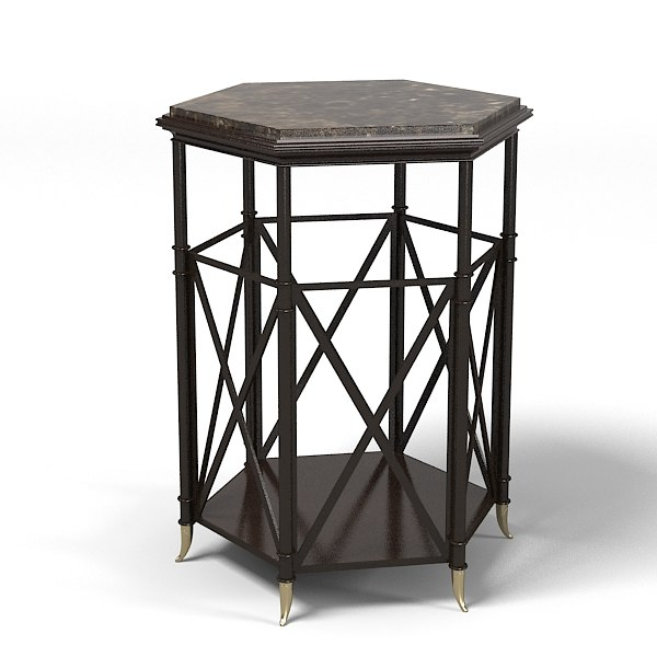 Baker Napoleon Drum table barble top 3765 m Jaquies garcia side end traditional art deco.jpg