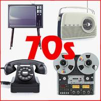 Collection of retro electronics 70s