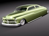 3d model mercury coupe 1950 antique