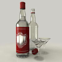 rum bottle glass c4d
