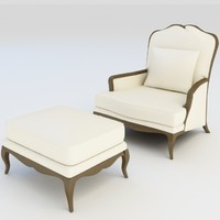 Classic Armchair and Ottoman