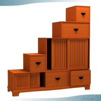 3d kaidan storage chest shelving model