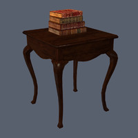 Antique Table, Low Poly & Bonus Books