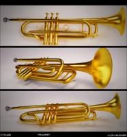 3d trumpet brass model