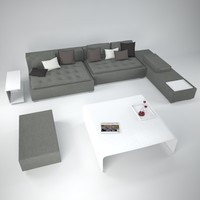 3d model zanotta domino sofa tables