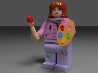 3d model lego girl female painter
