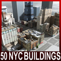 3d nyc 50 buildings model