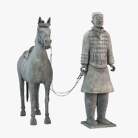 Terracotta Warriors-Cavalryman with His Saddled War-horse