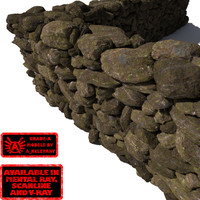 Stone Wall 10 - Mossy Dirty 3D Rock Wall