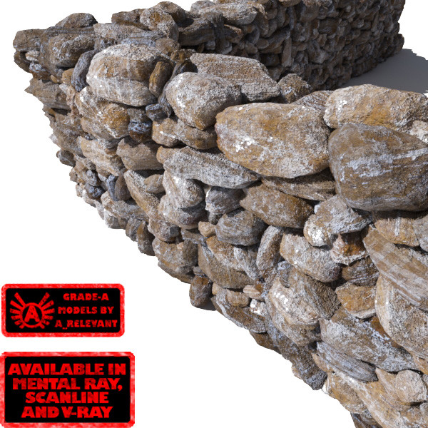 Stone Wall 8 - Mossy Dirty 3D Rock Wall