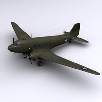 c-47 skytrain dakota transport 3d model