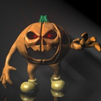 halloween pumpkin character rigged 3d 3ds