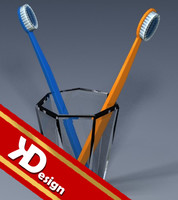 3d glass toothbrushes model