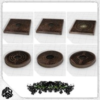 3ds max tree planter grate set