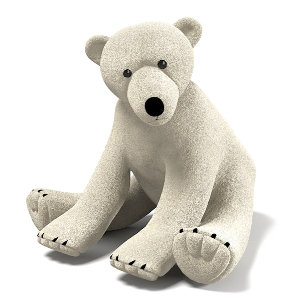 White Polar Plush Bear Toy Game kid children play playroom accessory .jpg