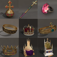 3d model of set royal attributes