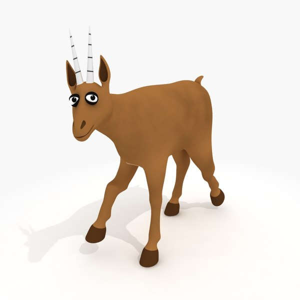 cartoon antelope rig 3d model - Cartoon Antelope (rigged)... by x3mer
