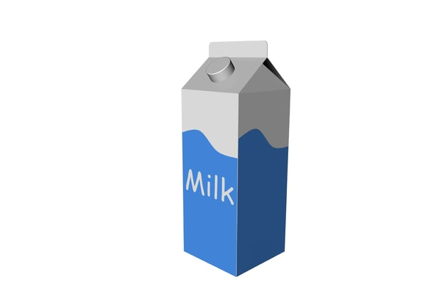 Open Milk Carton 3d milk carton