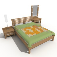 3d model bedroom bed nightstand make