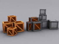 crates wooden metal 3d model