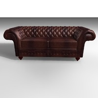 3d grosvenor 3 seater leather chair model