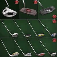 golf sticks v7 3d model