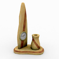 interior maple desk clock obj