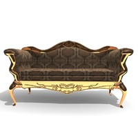 ornamented 3 seater chair 3d model