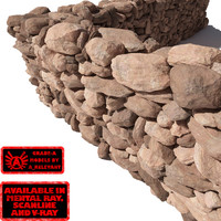 Stone - Rock Wall 4 - Red 3D Rock Wall