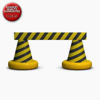 construction icons 12 barrier 3d model