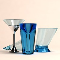 3d glass cups model