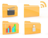 3d model of folders icons