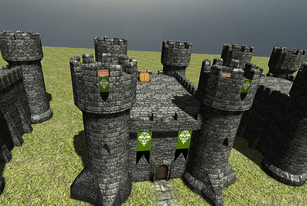 3dsmax castle interior - Castle keep with interior low poly [Game Ready]... by seikto