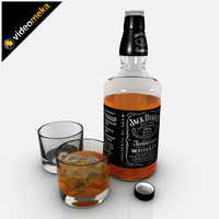 3d jack daniels whiskey bottle glass model