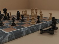 3d model of marble chess
